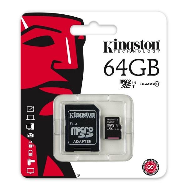 CARTÃO DE MEMÓRIA SD XC 64GB KINGSTON C / ADAP. C10