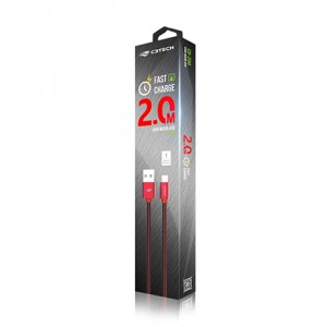 Cabo USB-MICRO Fast Charge 2m C3tech Vermelho - CB-200RD