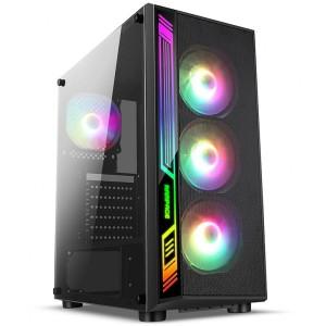 Gabinete Gamer sem fonte Liketec Dex RGB - Lat. Vidro, USB 3.0, Fita Led RGB, Preto