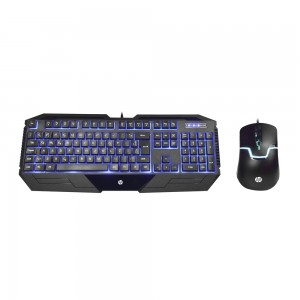 Kit Teclado e Mouse Gaming HP GK1100 Preto LED Azul