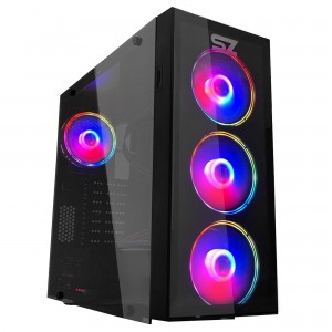 Gabinete Gamer Storm-Z Daring - Fr/Lat. Vídro, USB 3.0, 3x Fans Led Vermelho, Preto, sem Fonte