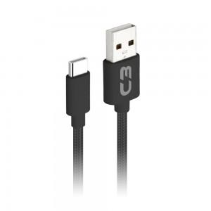 Cabo USB Tipo A - USB Tipo C, 1m 2A C3Plus CB-C11 Preto