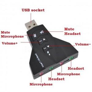 Adaptador de Som USB 7.1 Canais Virtual para Dois Fones de Ouvido